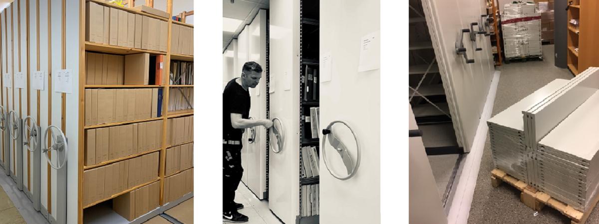 Begagnade arkiv-nya arkiv-flytt av arkiv